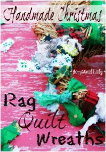 Handmade Christmas Rag Quilt Wreaths